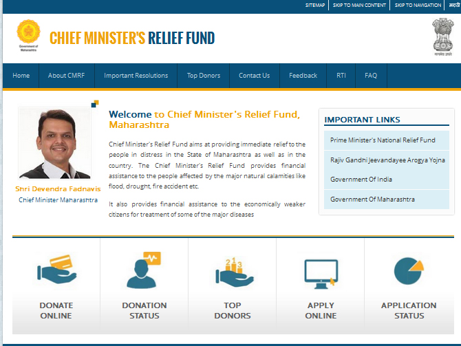 Donate Online to Chief Minister's Relief Fund