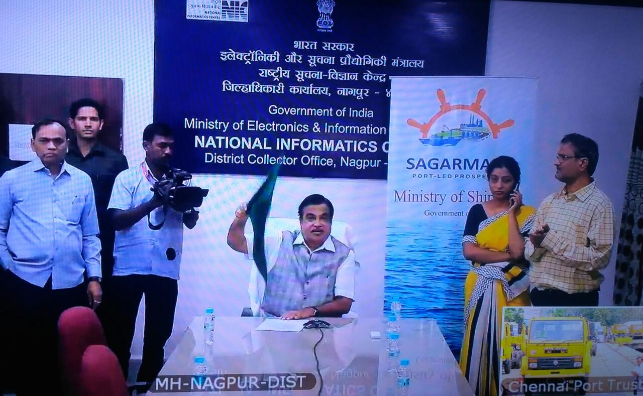 Shri Nitin Gadkari digitally flags off from NIC District Center Nagpur, a RORO Ship carrying trucks from Chennai Port to Mongla Port in Bangladesh